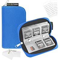 Memory Card Carrying Case - Suitable for SDHC and SD Cards - 8 Pages and 22 Slots - ECO-FUSED Microfiber Cleaning Cloth Included (1 Pack, Blue)