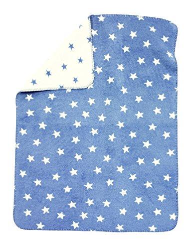 Alvi Baumwolldecke Kuscheldecke Babydecke Schmusedecke 75x100 Sterne blau