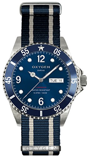 OXYGEN - EX-D-ATL-40-NN-NAIVNA - Montre Mixte - Quartz - Analogique - aiguilles luminescentes - Bracelet Nylon Bleu