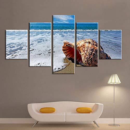 mmwin Wandkunst Leinwand HD Drucke Wohnkultur Sea Wave Landschaft 5 Stücke Kreative Modulare Wohnzimmer Bilder Kunstwerk Poster