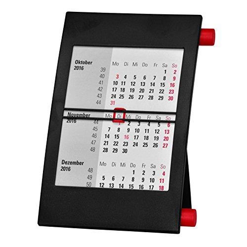 Truento 3-Monats-Tischkalender für 2 Jahre (2019 und 2020) - mit Drehmechanik - Aufstellkalender - schwarz/rot
