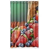 costumbre Strawberry 100% poliéster fábrica cortina Window Curtain (una pieza), Poliuretano, b, 52x84(inches)