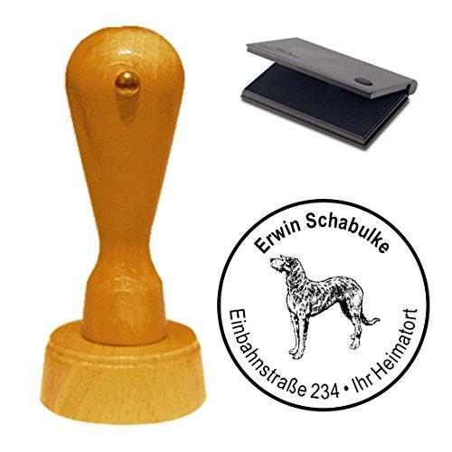 Stempel mit Kissen Adressenstempel « IRISCHER WOLFSHUND » Durchmesser ca. Ø 40 mm - mit persönlicher Adresse und Hunde Motiv - Hund Haustier Irish Wolfhound