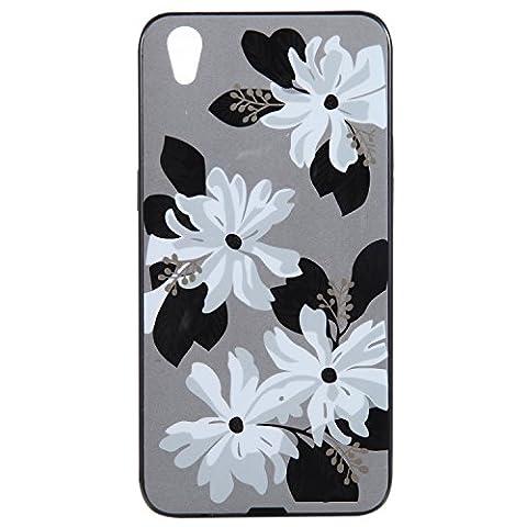 Ecoway Oppo R9 IMD Case Cover, TPU Série de fleurs de porcelaine Shell autour du diamant Housse en Housse de protection Housse pour téléphone portable pour Oppo R9 -