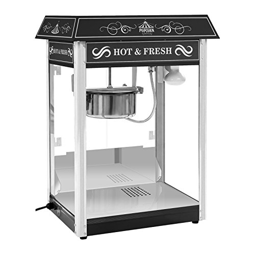 Royal Catering RCPS-16.2 Popcornmaschine Popcorn Maker Popcorn Bereiter Retro Vintage Design Schwarz