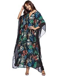 98e12f1c567 OKSakady Femmes Kaftan Long Manches 3 4 Été Maxi Dress Batwing Flower  Tunique