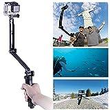 Wasserdichte GoPro Selfie Stock, LUOOV 3-in-One Ausziehbare und faltbare Selbstporträt Stock, 3-Wege-Auslegearm Einbeinstativ Halterung für Hero 4 2 3 3 + SJ4000 Sport-Kamera