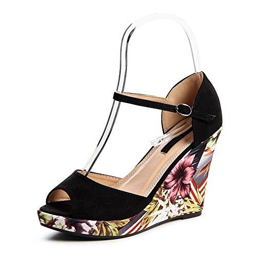 topschuhe24685Femme escarpins sandales à talons compensés Noir - Noir
