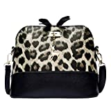 Damen Mode Leopard Muster Umhängetasche mit Hirsch Anhänger Reißverschluss Schultertasche Citytasche Reisen Schulranzen Retro Crossbody Leder Tasche Handtasche (Khaki)