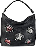 styleBREAKER borsa a secchiello di jeans con patch di strass e paillettes, borsa da shopping, borsa a spalla, borsa, da donna 02012050, colore:Nero/Nero