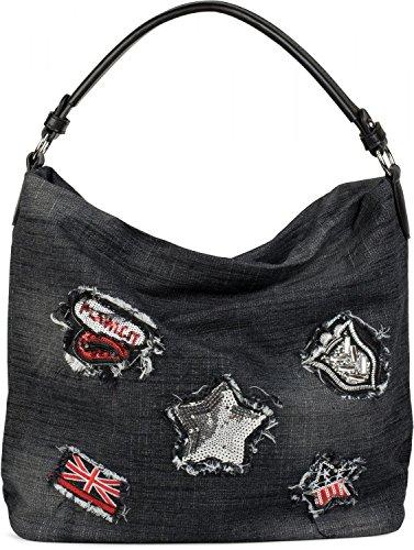 styleBREAKER Jeans Beuteltasche mit Patches im Strass und Pailletten Look, Shopper Handtasche,...