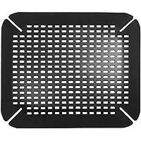 InterDesign Basic tapis évier - fond évier en plastique PVC - protection évier pour lavabo - noir