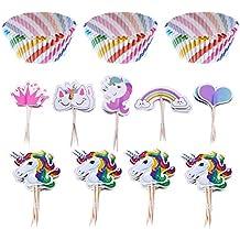 LOKIPA - 100 Cajas de Papel para Magdalenas y Cupcakes con diseño de arcoíris y 44