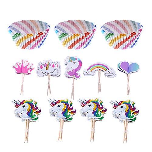 LOKIPA - 100 Cajas de Papel para Magdalenas y Cupcakes con diseño de arcoíris y 44 Adornos de Unicornio para Cupcakes, para Fiestas de Unicornios y Fiestas de cumpleaños de niños