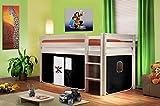 Hochbett Kinderbett Spielbett Massiv Kiefer Weiß - Pirat Schwarz/Weiß - SHB/01/1034