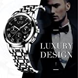Herrenuhren, Luxus Klassisch Schwarz Edelstahl Uhren Business Casual Uhren Wasserdichte Multifunktions-Quarz Armbanduhren Herrenuhren
