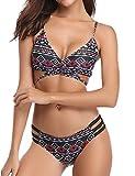 Hawiton Damen Druck Triangel Push up Bikini Set Badeanzug Neckholder Zweiteilig Bademode Violett S