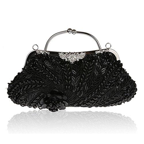 Nuova borsa borsa sacchetto del vestito bag borsa banchetto diamante cheongsam sera della mano borsa borsa sposa moda di perline ( Colore : Silver ) Nero