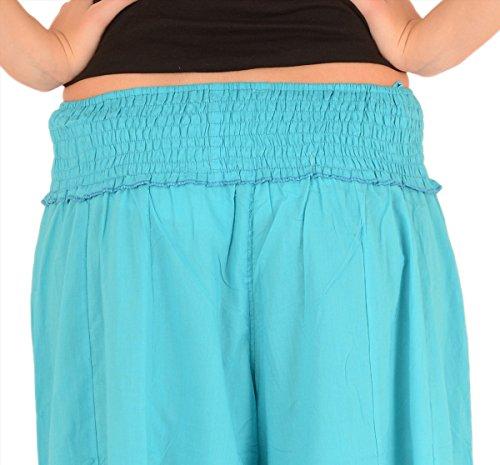 Pantaloni Plazzon, modello SNS 3X, taglia: forte, da donna, in puro cotone. Sky Blue