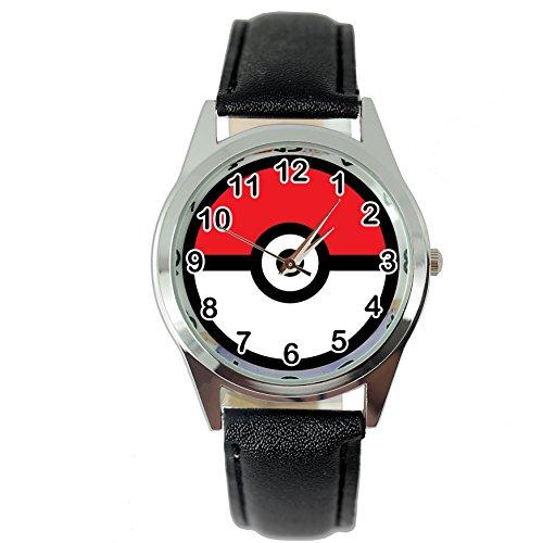 TAPORT® POKEMON Reloj de cuarzo negro correa de piel + batería de repuesto + bolsa de regalo
