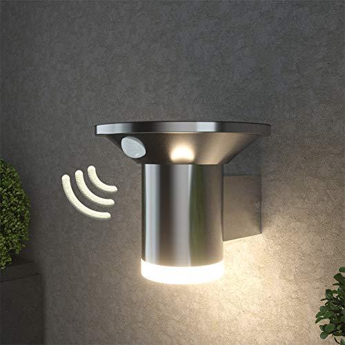 NBHANYUAN Lighting® LED Solar Wandleuchte mit Bewegungsmelder 2 Modi in dimmbaren 75-500lm Solarleuchte Edelstahl für Garten Terrasse Beleuchtung 4000K Warmweiß Licht Silber IP44