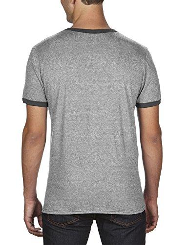 anvil Herren Ringer T-Shirt / 988 Grau (HGY/Heather Dark Grey FZ346)