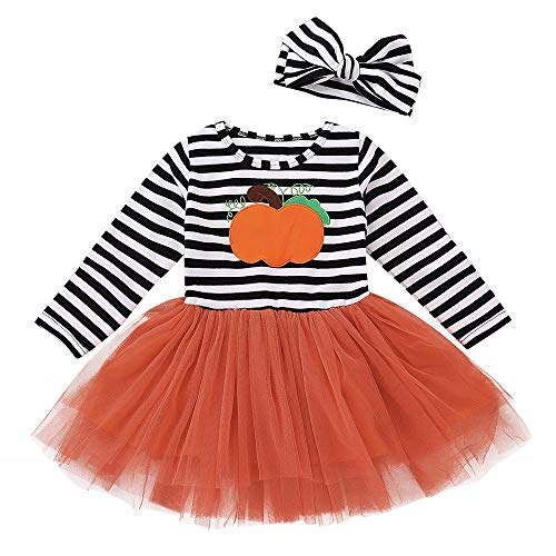 Stirnband Kostüm Kürbis - TEBAISE Damen Kinder Baby Mädchen Kürbis Striped Print Langarm Halloween Kleid + Stirnbänder Cute Soft Set Kleid Oktoberfest Christmas Weihnachten Cosplay Kostüm