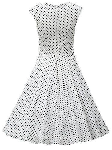 MUXXN Damen Retro 1950er Kleider Swing Kleid Vintage Rockabilly Kleid Partykleid Cocktailkleid White Black Dot