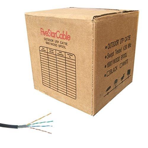 Fünf Star-Kabel 1000ft. CAT5e 24AWG Direct Burial/Underground Doppel-Jacke Wasserdicht Outdoor Begräbnis UTP Ethernet LAN Kabel-Schwarz - Outdoor-cat5e-kabel