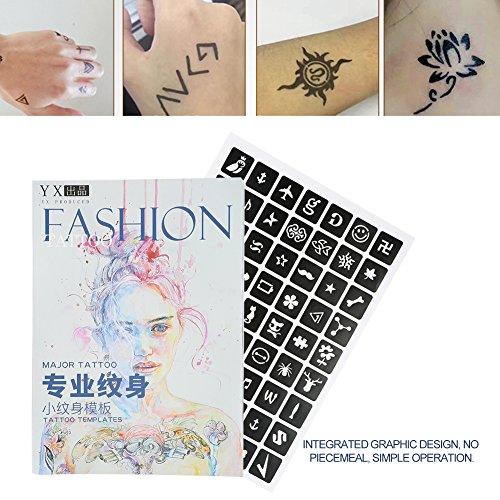 Tattoo Airbrush Vorlage, Semi-permanente kleine Glitter Tattoo Schablone Blume Schmetterling Cartoon Airbrush Tattoo Parttern