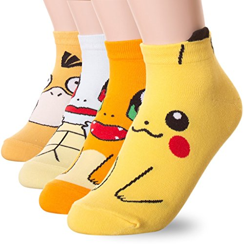 Dani scelta del famoso animazione giapponese Stampa calzini Pokemon 4 Pairs Taglia unica