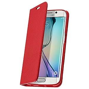 Étui en Cuir grainé veritable série Business - Rouge pour Samsung Galaxy S6 Edge