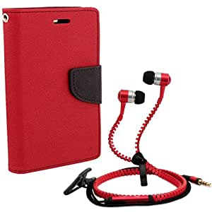 Aart Fancy Diary Card Wallet Flip Case Back Cover For Mircomax A104-(Red) + Zipper earphones/Hands free With Mic *Stylish Design* for all Mobiles By Aart store