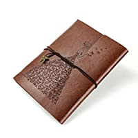 XIUJUAN Notebook A5 Leather Journal Refillable Diary Blank Sketchbook, Vintage Retirement Christmas Valentines Day Gifts Birthday Wedding Anniversary Presents for Women Her Mum Girls, Butterfly Brown