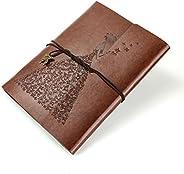 XIUJUAN A5 Notizbuch Leder Blanko Tagebuch Skizzenbuch Nachfuellbar Leer buch zum Selber Gestalten Vintage Val