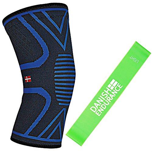Kniebandage inklusive Übungsband von DANISH ENDURANCE, Kompressionsbandage für Damen & Herren, Unterstützung beim Laufen, Joggen, Sport, Gelenkschmerzen, Arthritis, Rehabilitation nach Verletzungen, M