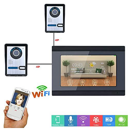 YA 7 Zoll verdrahtete WiFi IP-Video-Türsprechanlage Türklingel Intercom Entry System mit 2Xhd IR-Cut 1000TVL verdrahtete Kamera Nachtsicht, Unterstützung Remote APP Entsperren, Aufnahme, Snapshot Intercom-außeneinheit