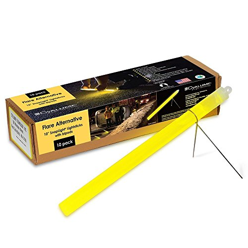 CYALUME - CAJA DE 10 TUBOS LUMINOSOS SNAPLIGHT FLARE ALTERNATIVE 25CM  10 PULGADAS  2 HORAS  COLOR AMARILLO