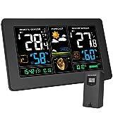 Kalawen Wetterstation mit Außensensor Innen und Außen 9-IN-1 Funkwetterstation mit Farbdisplay Digital Thermometer Hygrometer Regenmesser und Uhrzeit Anzeige für Zuhause Büro Hausgarten -