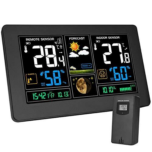 Kalawen Wetterstation mit Außensensor Innen und Außen 9-IN-1 Funkwetterstation mit Farbdisplay Digital Thermometer Hygrometer Regenmesser und Uhrzeit Anzeige Silber für Zuhause Büro