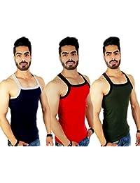 ZIMFIT Men's Cotton Gym Vest Pack of 3 - (Blue_Red_Green)