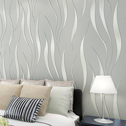 Carta da parati strutturata dell'onda 3d di miglioramento domestico minimalista moderno Grigio argento ondulato 53x1000cm (Tumblr Da)