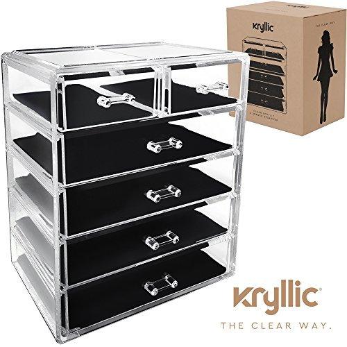 Acryl Make Up Organizer Aufbewahrungsbox - Kryllic Kosmetik Aufbewahrung 6 Schubladen Schmink Organizer Schminke Aufbewahrungsbox Schminktisch Lippenstifthalter Nagellack Pinselbehälter Transparent