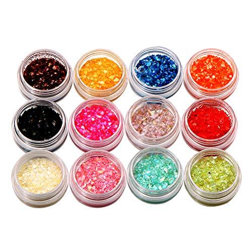jhtceu 1 Set von 12 Farbgranulat Muschel Granulat Nagelkunst Dekoration DIY Maniküre Werkzeug