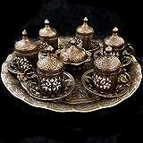 ottomano turco bronzo ottone vassoio da tè piattini da caffè Tazze set-Top venditore UK bronzo ottone set da tè
