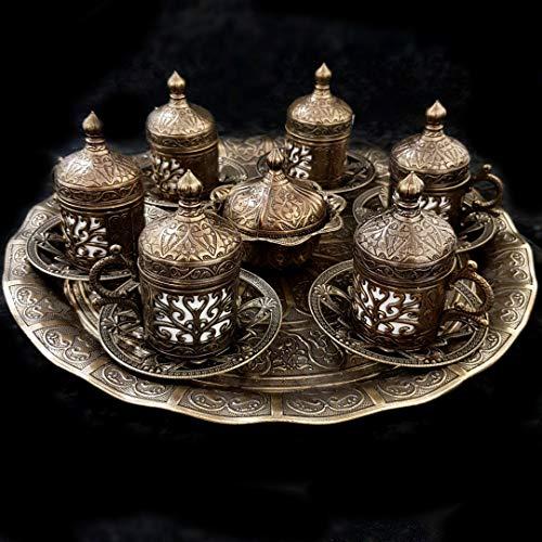 Ottomane Turkish Bronze Messing Tee Kaffee Untertasse Tassen Tablett Set - Top UK Verkäufer_Bronze Messing Tee-Set -
