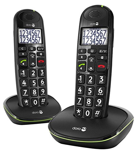 Doro PhoneEasy 110 DECT Identificador de llamadas Negro - Teléfono (Teléfono DECT, Altavoz, 100 entradas, Identificador de llamadas, Negro)