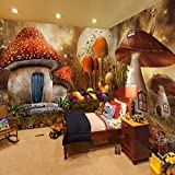 LONGYUCHEN Benutzerdefinierte 3D Seide Wandbild Tapete Kreative Wald Pilz Zimmer Kinderzimmer Kindergarten Spiel Zimmer Dekoration Wandbild,300Cm(H)×420Cm(W)