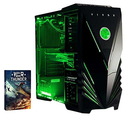 Vibox Submission 29 Gaming PC con Gioco War Thunder, 4GHz AMD FX Quad Core Processore, nVidia GeForce GTX 960 Scheda Grafica, 2TB HDD, 16GB RAM, Case Predator, Neon Verde