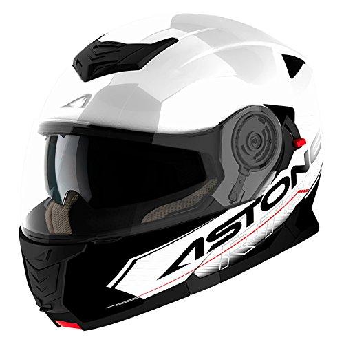 Astone Helmets Klapphelm Touring, Weiß/Schwarz, XL